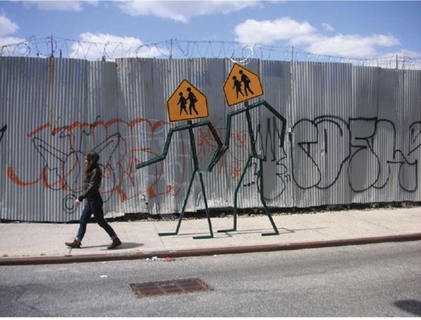"Leon Reid IV, ""Pedestrian Shuffle,"" steel pole, aluminum signs, enamel, 10 ft x 9 ft x 1.5 inches, 2011."