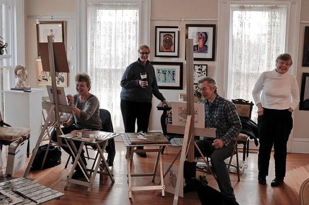 Lisa O'Gorman, Sandy Spitzer, Mike Jarezko (instructor), and Gail Brach at the Wallkill River School in Montgomery. - DAVID MORRIS CUNNINGHAM