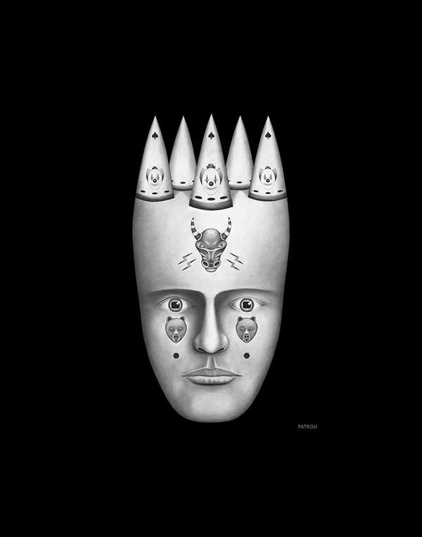 Lou Patrou, Clown, graphite drawing, 3/08