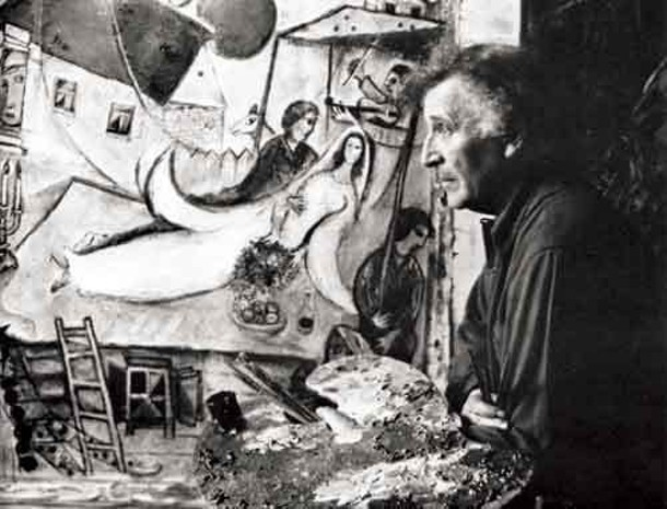 Marc Chagall in High Falls, in 1948, working on Liberation. Photo by Charles Leirens.