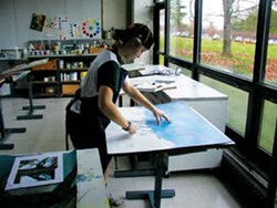 Martha Ashe in the Advanced Art Studio at Hotchkiss School in Lakefield, CT.