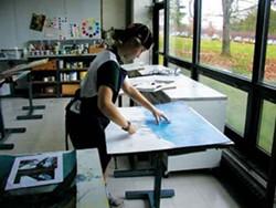 Martha Ashe in the Advanced Art Studio at Hotchkiss School in Lakefield, CT.