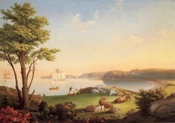 """MARY BLOOD MELLEN, FIELD BEACH, OIL ON CANVAS ON BOARD, 24"""" x 33 15/16"""", CIRCA 1850. COURTESY OF CAPE ANN MUSEUM. GIFT OF JEAN STANLEY DIES."""