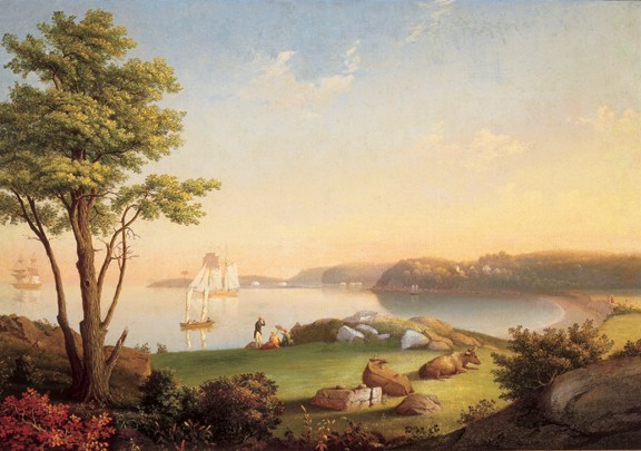 "MARY BLOOD MELLEN, FIELD BEACH, OIL ON CANVAS ON BOARD, 24"" x 33 15/16"", CIRCA 1850. COURTESY OF CAPE ANN MUSEUM. GIFT OF JEAN STANLEY DIES."