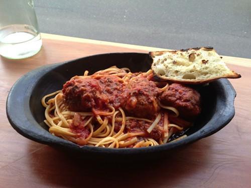 Meatballs over linguini special at Duo Bistro