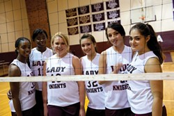 Members of the Lady Knights volleyball team at New York Military Academy.
