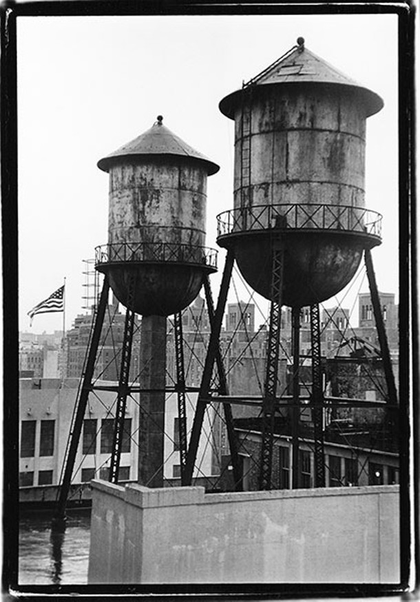 Metal water towers with flag, West 27th Street and 10th Avenue, 2006.