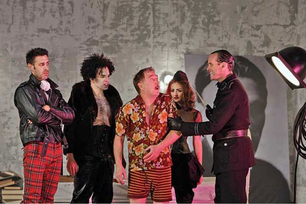 """Mickey Solis, Peter Macklin, Michael Medeiros, Sonia Feigelson, and Danny Wolohan in Bard SummerScape's production of """"The Master and Margarita"""" at the Fisher Center on July 12."""