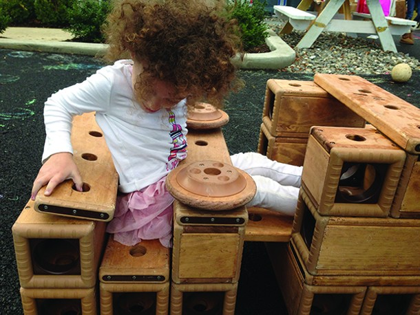 Montgomery Montessori School students at play during their three-hour independent individual work period in the morning.