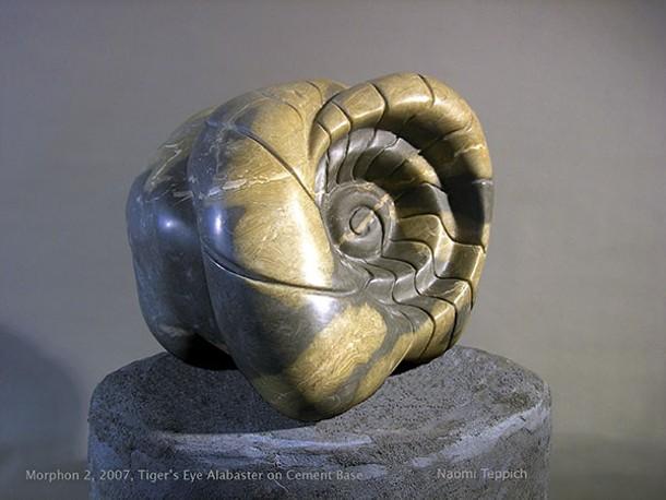 Morphon 2, Tiger's Eye Alabaster on Cement Base, 2007, Erica Leigh Caginalp