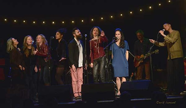 Natalie Merchant, Elizabeth Mitchell, Amy Helm, Simi Stone, Jeremy Bernstein, Bethany Yarrow, Tracy Bonham Fine, and Gail Ann Dorsey at the Frack Action Benefit Concert at Bearsville Theater on March 10.