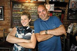 Natasha Witka and Joe Fierro of American Glory at the Chronogram mixer at American Glory in Hudson on July 11. - Photo by David Morris Cunningham.