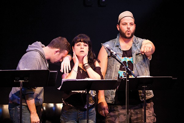 "Nick Blaemire, Katrina Dideriksen, and Daniel Franzese in the 2013 production of ""Found"" - © VASSAR & NEW YORK STAGE AND FILM / BUCK LEWIS"