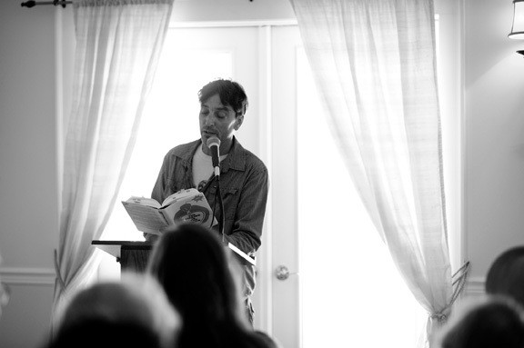 """Nick Flynn, whose photo graces the cover of """"River of Words,"""" reads from his memoir, """"The Ticking Is the Bomb."""" - JENNIFER MAY"""