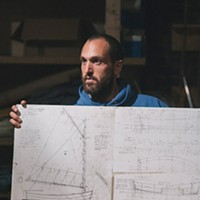 Hudson & Columbia County Nick Zachos at a wooden boat building workshop at Basilica Hudson. Thomas Smith
