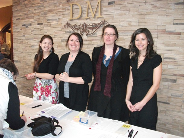 Nicole Villani, Jessica Pierce, Amy Colon, and Jessica Sumber of Family of Woodstock greet attendees at Family's Chocolate Lover's Brunch on February 12 at Diamond Mills in Saugerties. - CAROLYN ALTOMARI