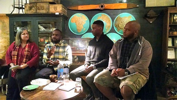 Nina Shengold, left, with Darnell L. Moore, Marlon Peterson, and Kiese Laymon at Word Café in November 2014.