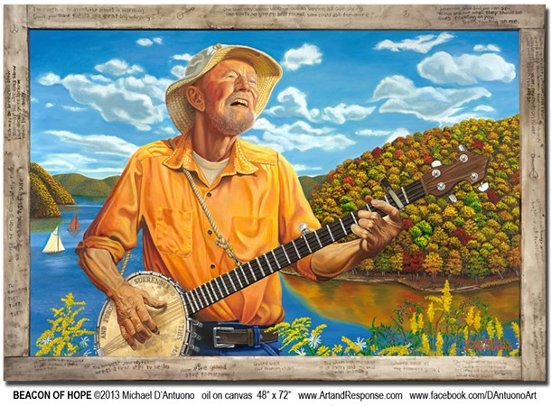 Oil painting of Pete Seeger. - MICHAEL D'ANTUONO