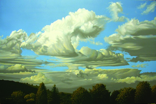 """One Evening in Monson - Leon A. Comstock Jr.   acrylic on panel   32"""" x 48""""   2010"""
