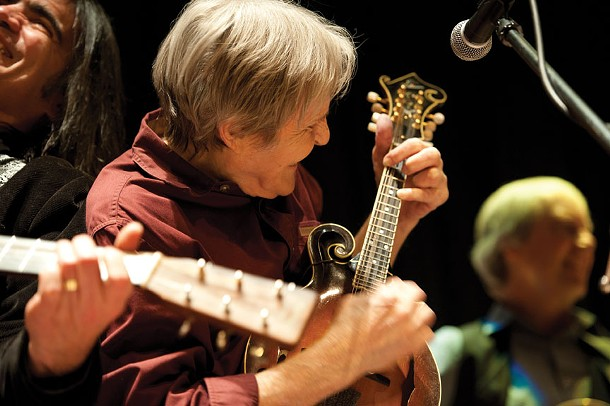 """Onteora High School, Woodstock, December 2010 - """"I think it'd be fair to say Larry Campbell's face reflects the joy every single musician who ever played with Levon felt. [Helm's manager] Barbara O' Brien had asked to see a proof of this show, she and Levon wanted to make a card to thank everyone who helped with the Onteora benefits. That says so much to me about how they gave back."""""""
