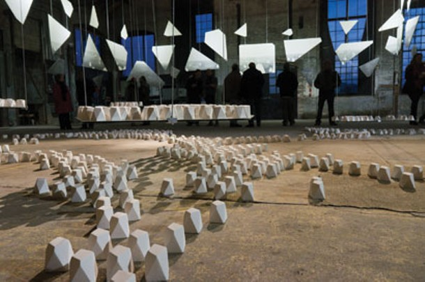 Opening reception for Laetitia Hussein's 1,000 Sculptures at Basilica Hudson on February 11. - VINCENT BILOTTA