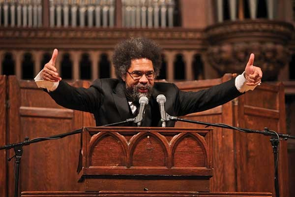 Outspoken Occupy Wall Street supporter Cornel West speaking at Vassar College on November 30. West visited the Occupy encampment in Hulme Park in Poughkeepsie after his lecture. - JOHN ABBOTT © VASSAR COLLEGE