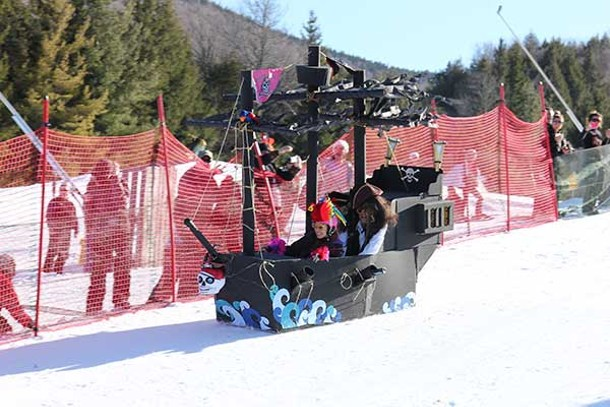 Participants get innovative with elaborate cardboard creations for the Annual Cardboard Box Derby at Hunter Mountain on March 9.