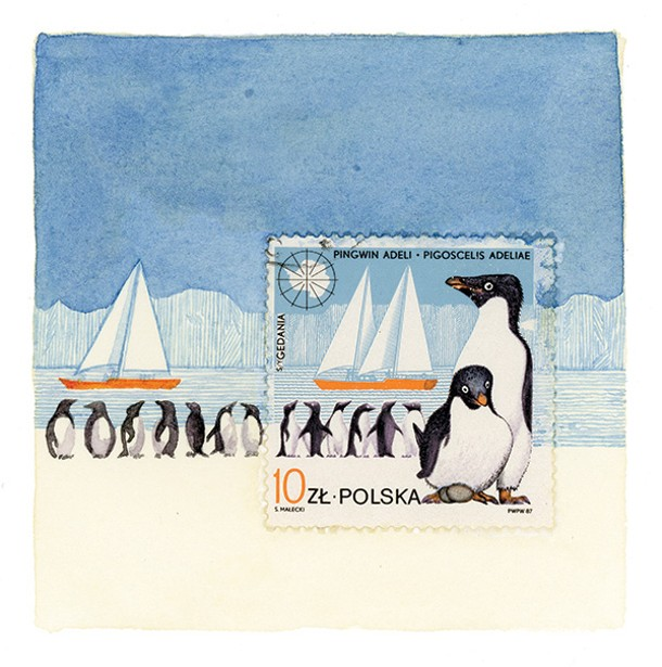 """""""Penguins,"""" Molly Rausch, watercolor, Gouache, Postage stamp on paper, 3.25"""" x 3.25"""", 2013"""
