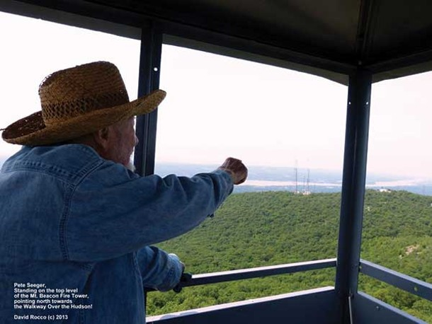 Pete Seeger at the Mount Beacon Fire Tower during the grand opening ceremony on June 22.
