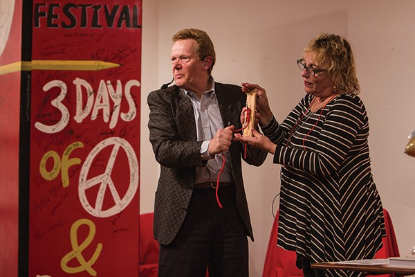 Philippe Petit and Martha Frankel demonstrate knot tying at the Woodstock Writers Festival from April 18 to 21.