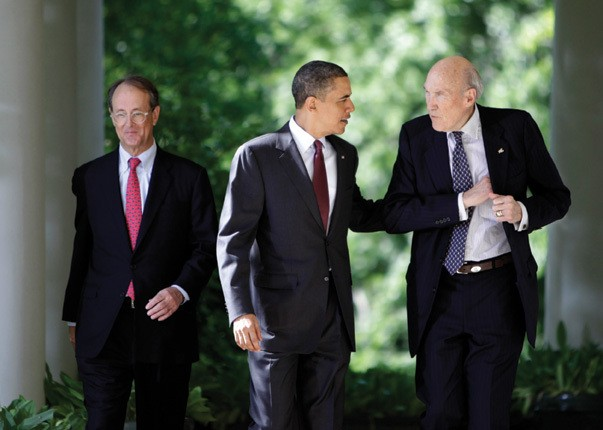 President Barack Obama speaks with former Republican Senator Alan Simpson(R) at the White House in Washington on April 27, 2010. Pictured on the left is former White House Chief of Staff Erskine Bowles. Simpson and Bowles were co-chairs of Obama's Fiscal Commission, in charge of deficit reduction.