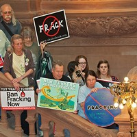 New Yorkers Against Fracking Slideshow Protestors gather on the stairs at the Capitol building. Jim Rice