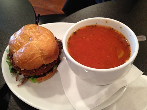 Quinoa Black Bean Burger & Tomato Rice Soup