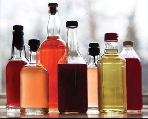 Red wine, rosé, sumac, blackcurrant, maple-spruce, cider, and carrot-beet vinegars - PETER BARRETT