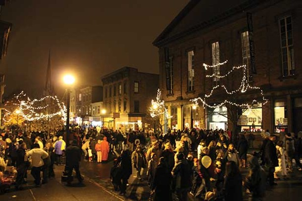 Revelers outside of Hudson Opera House for Winter Walk on Warren Street on December 1. - ALBERT GNIDICA