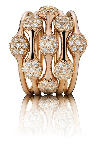 Rings from Pandora's Lovepods Collection, 18K rose gold with pave diamonds in 1, 2 & 3 pods