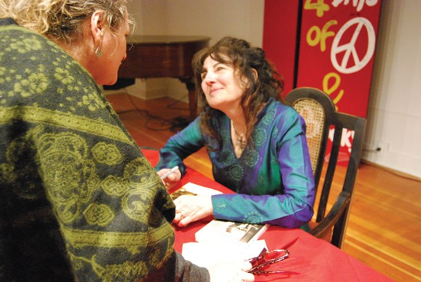 """Ruth Reichl signs copies of """"Not Becoming My Mother"""" at the Woodstock Writers Festival on Saturday, February 13 at the Kleinert/James Art Center. - Photo by Siobhan Schneidman."""