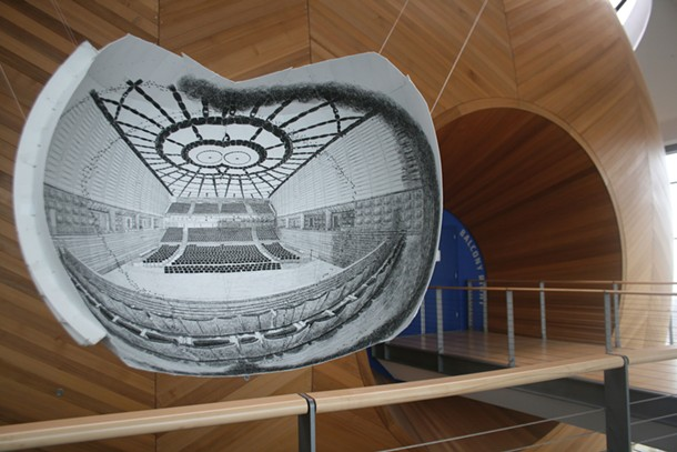 Ryan and Trevor Oakes's binocular drawing of the EMPAC Theater in Troy