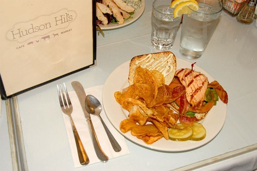 Salmon BLT and outrageous chips