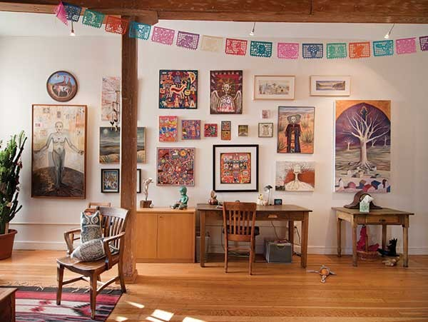 Sampling of art collection includes six Mexican folk Huichol yarn paintings and two large paintings by Linda Marston-Reid