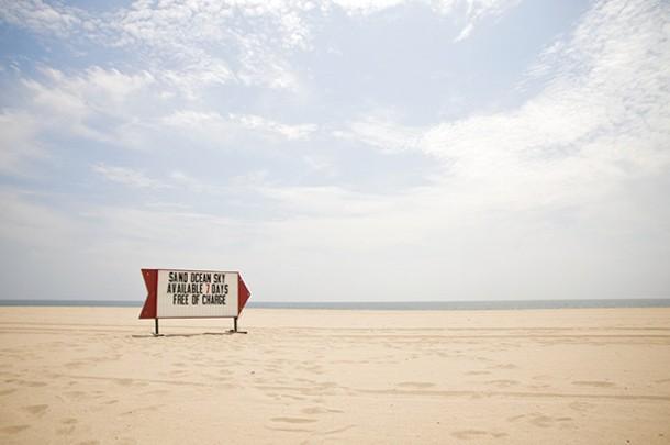 """Sand Ocean Sky—The Commons, Mixed Media, 40""""x90"""", 2009 - STEVE LAMBERT"""