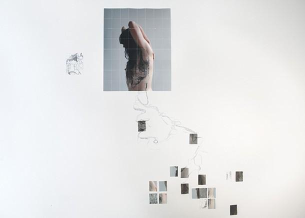 Sara Skorgan Teigen, Wall Explorations—New York, Oslo, and Marsailles, archival pigment prints, tape, and pencil, dimensions variable, 2014.
