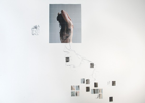 Sara Skorgan Teigen, Wall Explorations—New York, Oslo, and Marsailles, archival pigment prints, tape, and pencil, dimensions variable, 2014.