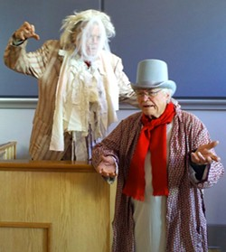 DAVID ASTON-REESE - Scrooge (l) interrogates Marley's ghost on the stand