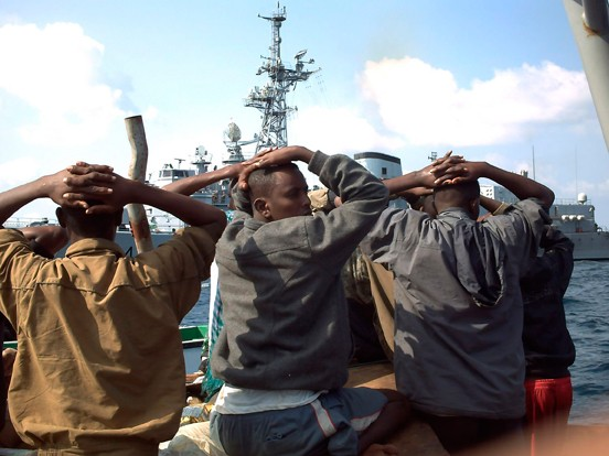 Several of the 19 captured Somali pirates, captured by the french navy on January 4, 2009. the French naval vessel Jean de Vienne, patrolling in the seas off Somalia as part of a European Union anti-piracy force, came to the rescue of two cargo ships in the Gulf of Aden.