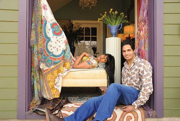 Shalyni Paiyappilly lounges in a Johnny Was dress with a Nakamol necklace and Motif 56 Edna bag, and Harpreet Naina sits back in a Taillia shirt, Scotch & Soda jean, Will reversable leather belt, and Vintage Shoe Co. boots from de Marchin in Hudson. - KELLY MERCHANT