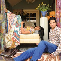 Beauty & Fashion Spring Photo Shoot Shalyni Paiyappilly lounges in a Johnny Was dress with a Nakamol necklace and Motif 56 Edna bag, and Harpreet Naina sits back in a Taillia shirt, Scotch & Soda jean, Will reversable leather belt, and Vintage Shoe Co. boots from de Marchin in Hudson