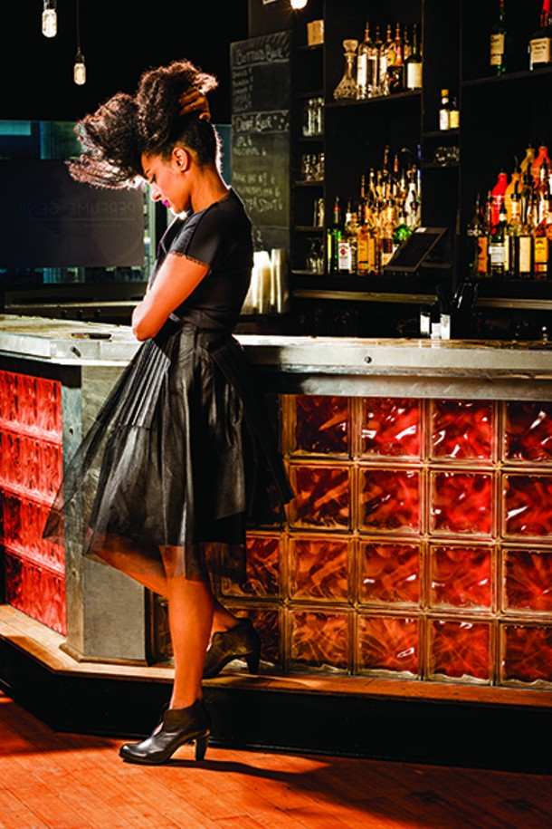Simi Stone in Comme des Garcons Noir kei ninomiya paneled tulle skirt ($440); Issey Miyake PLEATS PLEASE black top ($325); Reinhard Plank Monaca leather ankle boot ($560). Clothing from Kasuri, Hudson; Kasuri.com. - Woodstock native Simi Stone just inked a deal with UK-based label Reveal Records. Her first solo album is scheduled for release in late spring 2015. - FRANCO VOGT