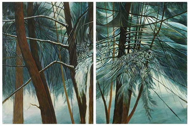 """Snowy Thicket, a diptych by Chris Gonyea from the exhibit """"Winter Paintings"""" at George Adams Gallery in Chelsea."""