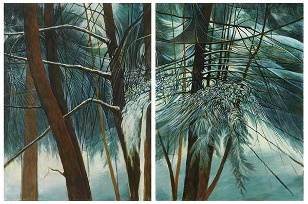 "Snowy Thicket, a diptych by Chris Gonyea from the exhibit ""Winter Paintings"" at George Adams Gallery in Chelsea."